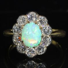 Antique Victorian Diamond and Opal Cluster Ring in 18k Gold and Silver
