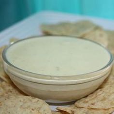 Mexican White Cheese Dip/Sauce.  Another  pinner said, Best dip I have ever made.  Exactly like the white cheese at Mexican restaurants.  So good!