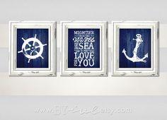 Nursery Nautical theme, Ship wheel, Psalm 93:4, Anchor, Sailor Theme, Navy blue, Beach Decor, Downloadable. Print it yourself.