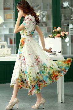 Ericdress Bohemian Vintage Print Maxi Dress 4