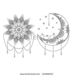 Vector ornate vintage moon, sun and stars. Black and white boho print with small geometric details and elements. Illustration for coloring book. Hand drawn.