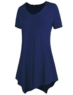 6dd580b3c2 DRSKIN WS05 Women Handkerchief Hem Short Sleeve Long Tunic Top 3XL Navy *  Read more reviews of the product by visiting the link on the image.