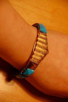 Blue Stud gold cuff by StudMuffinByKARPSA on Etsy, $18.00