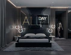 All day all night - галерея Modern Luxury Bedroom, Luxury Bedroom Design, Luxurious Bedrooms, Bedroom Setup, Master Bedroom Interior, Bedroom Decor, Black Bedroom Design, Bedroom Bed Design, Bachelor Bedroom