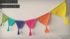 ♦ Sweet Hope Pennant Garland ♦ Made of merceri cotton yarn . - Lilly is Love Crochet Triangle, Crochet Granny, Crochet Stitches, Knit Crochet, Crochet Hats, Crochet Bunting, Crochet Garland, Crochet Designs, Crochet Patterns