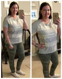 What I Wear: Mom Style #22- Lace stripe tee and LOFT camo jeans