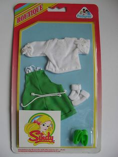 Sindy Doll Vintage Clothes/Outfit -1985 'Beach Life' inc. rare green court shoes