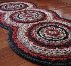 Hall runner idea - Triple Disc Crocheted Rag Rug - Your Custom Colors Homemade Rugs, Rug Loom, Crochet Rugs, Rugs On Carpet, Carpets, Sewing Spaces, Crochet Home Decor, Crochet World, Home Decor