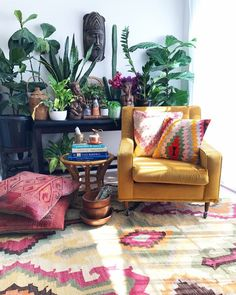 boho living room with plants