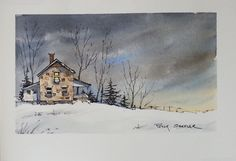 """Moonlit Farmhouse"" Line and Wash Watercolor. New YouTube Video. 