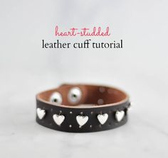 Heart studded leather cuff title  - http://Suburble.com