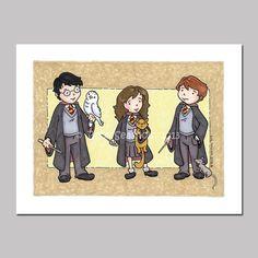 Harry Potter Ron Weasley Hermione Granger Cartoon by @Beck Seashols, $5.00