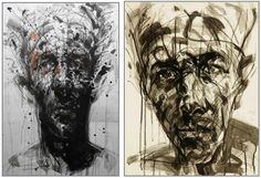 Two portraits in Indian ink, charcoal and acrylic by Hongyu Zhang. Left : No 155 (2012).