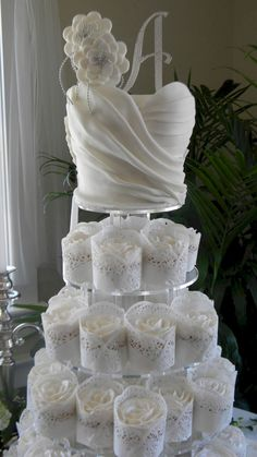 Wedding Cake: Gallery Images Of Amazing Wedding Cakes Ever Made, Amazing Sugar Ruffle Wedding Cake with Beautiful Sugar White Roses in Lace Cupcakes Tower Wedding Dress Cupcakes, Lace Cupcakes, Cupcake Cakes, Cupcake Wedding, Dress Wedding, Lace Wedding, Cupcake Dress Cake, White Cupcakes, Shoe Cakes