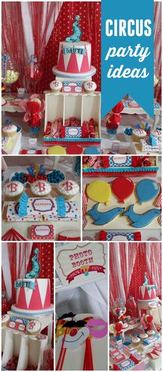 A classic circus boy birthday party with fun party decorations and delicious treats! See more party planning ideas at CatchMyParty.com!