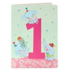 Girl Age 1 Elephants Card