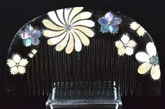 "Cosmos motif : The mother‐of‐pearl work Hair comb ""Kushi""   /  Raden / hair comb by JapaVintage on Etsy"