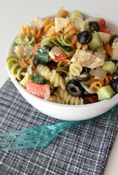Make your own delicious pasta salad that tastes better than from a deli with this healthy and easy recipe. Perfect way to use up leftovers!