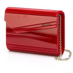 Jimmy Choo Candy Clutch (14 725 UAH) ❤ liked on Polyvore featuring bags, handbags, clutches, red purse, chain strap purse, jimmy choo handbag, chain handle handbags e envelope clutch