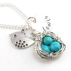 Mommy Bird in a Blue Eggs Necklace - Can be Personalized Mothers Day Gift