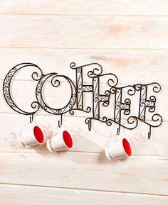 Wall Mounted Coffee Mug Rack Decorative Display
