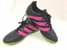 28131372d37 Adidas Black Pink Green Boys or Girls Indoor Soccer Cleats Youth Size 3.5   adidas Us
