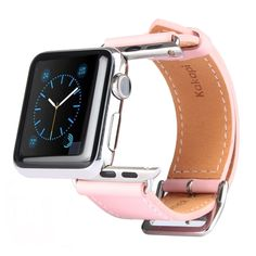 [$12.26] Kakapi Metal Buckle Cowhide Leather Watchband with Connector for Apple Watch 38mm(Pink)
