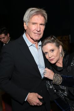 """Harrison Ford Offers Words of Support to His """"Dear Friend"""" Carrie Fisher Carrie Fisher Harrison Ford, Debbie Reynolds Carrie Fisher, Carrie Frances Fisher, Carrie Fisher Billie Lourd, Ford Quotes, Words Of Support, American Presidents, Princess Leia, Interesting Faces"""