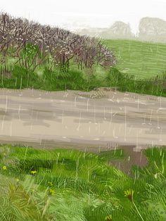 Rain At Wittenham Clumps on ipad (Beek, M. 2012) The Clumps, April Showers, Sunny Days, Watercolour, Grass, Raincoat, Ipad, Textiles, Patterns