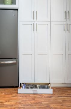 Add toe kick drawers under your cabinets to maximize kitchen storage space
