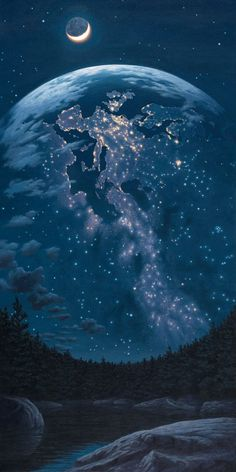 Night Lights, by Rob Gonsalves, Fine Art Editions on Canvas featured at Marcus Ashley Gallery.