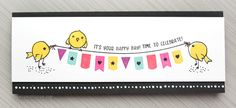 """Celebration Card - Using Only 1 Stamp Set (plus a crafty update) - Card measures 9"""" x 3-1/2"""" by Kristina Werner"""