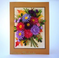 Quilling greeting card - Astra flowers - Birthday quilling greeting card - Anniversary quilling greeting card - Quilled card - Chinese astra flowers