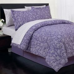 The Curly Damask Bed In A Bag comes with a comforter, pillow shams. Damask Bedding, Comforter Sets, Cute Bed Sets, Lavender Bedding, Bed In A Bag, Bed Pillows, Bed Linens, Pillow Shams
