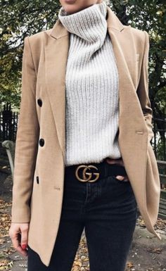 The Chic Technique: Polished fall womens outfit - tan blazer, ivory turtleneck and Gucci belt. @dcbarroso