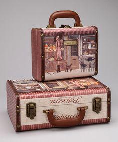 VIAJES Vintage inspiración Pink & Gray 'Patisserie' Suitcase Set