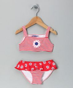 Take a look at this Red Daisy Ruffle Bikini - Infant, Toddler & Girls by Sweet Potatoes on #zulily today!
