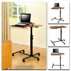 Portable Laptop Table Desk Cart Adjustable Rolling Trolley Notebook PC Stand New #AltraFurniture #ModernContemporaryAccent