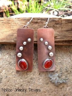 Carnelian gemstone, Copper and Sterling silver earrings. McKee Jewelry Designs
