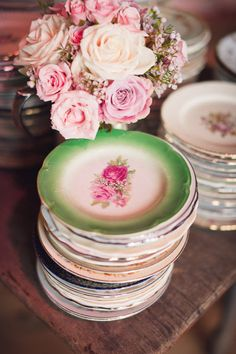 flowers and vintage plates