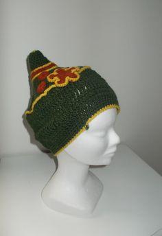 Cappellino a punta, lana ad uncinetto.