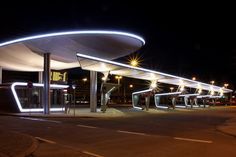 The new Central Bus Station in Halle(Saale) ZOB at night Facade Lighting, Lighting Design, Bus Shelters, Bus Terminal, Filling Station, Canopy Lights, Shade Structure, Bus Station, Street Furniture