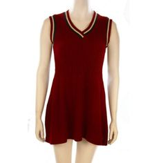 Vintage 1970's Flared Sweater Dress Maroon short ribbed sweater tank dress with navy and white trim • Fits modern sizes 2 through 6 • Orlon acrylic • 1970's vintage Dresses