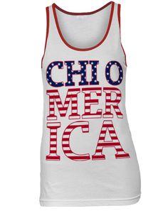 Chi Omega America Tank by Adam Block Design   Custom Greek Apparel  Sorority Clothes   www.adamblockdesign.com   orders@adamblockdesign.com