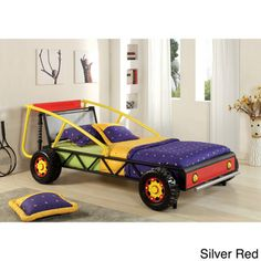 Off Road Racer Yellow And Red Metal Frame Boys / Kids Twin Size Race Car Bed  With Metal Front Grill. This Bed Features A Red And Yellow Metal Frame With  A ...
