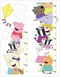 Peppa Pig Height Chart  (12432) - Brewers Wallpapers - A fun and quirky 130cm Peppa Pig and friends self adhesive Height Chart, brilliant for a child's bedroom or playroom, made up of two pieces. Dimensions are not as stated below. SAMPLES NOT AVAILABLE.