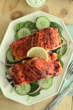 Tandoori Salmon with Spinach, Cucumber and Pickled Onions