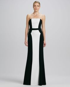 CHIC - BELTED GOWN David Meister Strapless Two Tone Belted Gown in Black (black/white ...