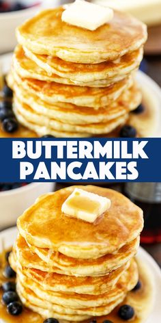 Old-Fashioned Homemade Buttermilk Pancakes - melt in your mouth tender and fluffy, these buttermilk pancakes are a weekend staple. Homemade Buttermilk Pancakes, Butter Milk Pancakes Recipe, Homemade Waffles, Buttermilk Recipes, Waffle Recipes, Chef Recipes, Cooking Recipes, Pancake Recipes, Pancakes
