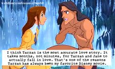"""""""I think Tarzan is the most accurate love story. It takes months, not minutes, for Tarzan and Jane to actually fall in love. That's one of the reasons Tarzan has always been my favorite Disney movie."""""""